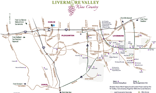Livermore Valley Wine Maps - California Winery Advisor on sierra foothills wine country map, sonoma wine country map, australia wine country map, yakima wine country map, santa barbara wine country map, mendocino wine country map, washington wine country map, long island wine country map, new mexico wine country map, los alamos wine country map, california wine country map, carneros wine country map, amador wine country map, napa wine country map, lake erie wine country map, lodi wine country map, temecula wine country map, california wine tours map, bordeaux wine country map, austin wine country map,