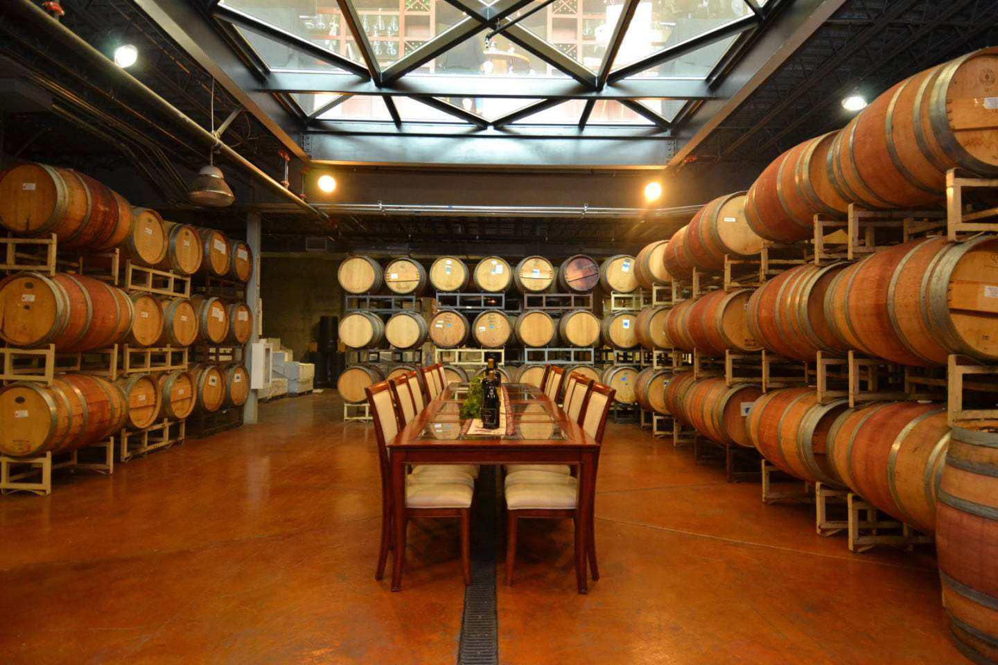 Monte de Oro barrel room w_ glass ceiling Temecula Winery