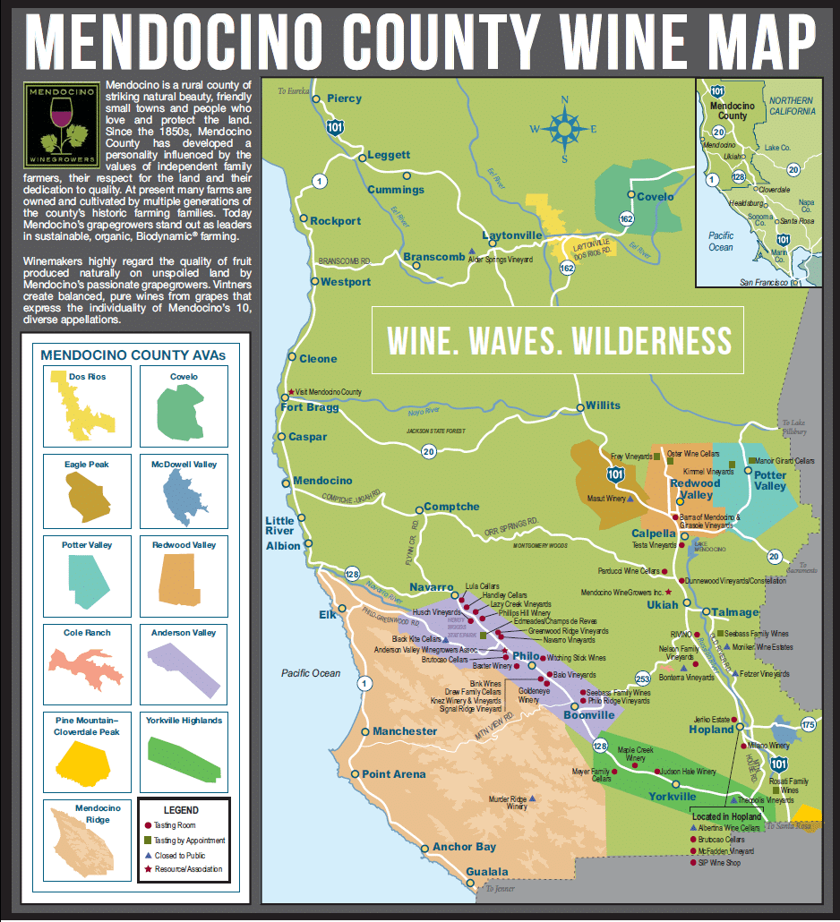 mendocino wine tasting map